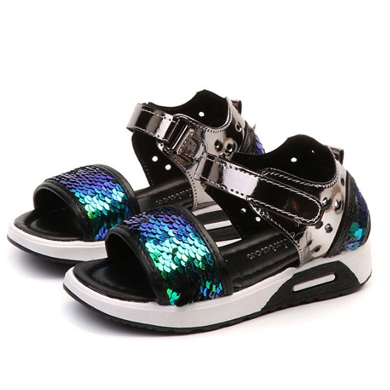 2018 New Unisex Children Summer Shoe Fashion Sequined Design Sandals Boys Girls PU Shoe Beach Shoes for Kids Sandals #7