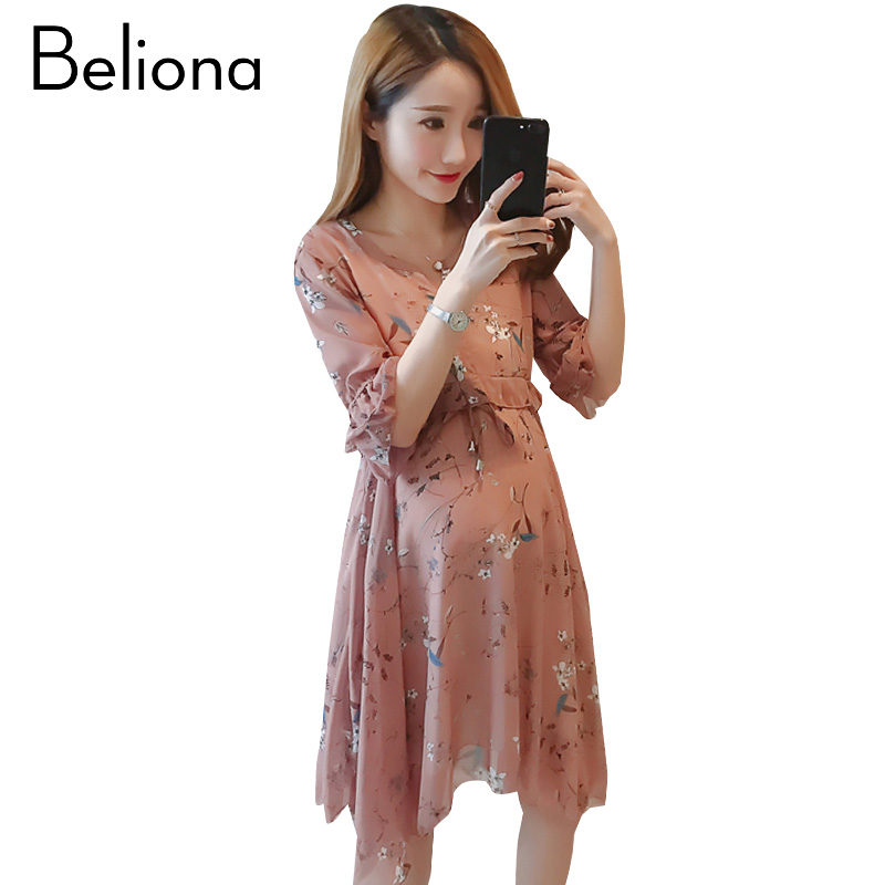 Floral Maternity Beach Dress Half Sleeve Maternity Clothes for Pregnant Women Chiffon 2017 Summer Pregnancy Clothing