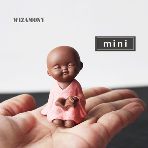 WIZAMONY MINI Tea Pet New Arrival Hot Crude Pottery Little Monk Handmade Home Deco Buddhism Creative Pattern