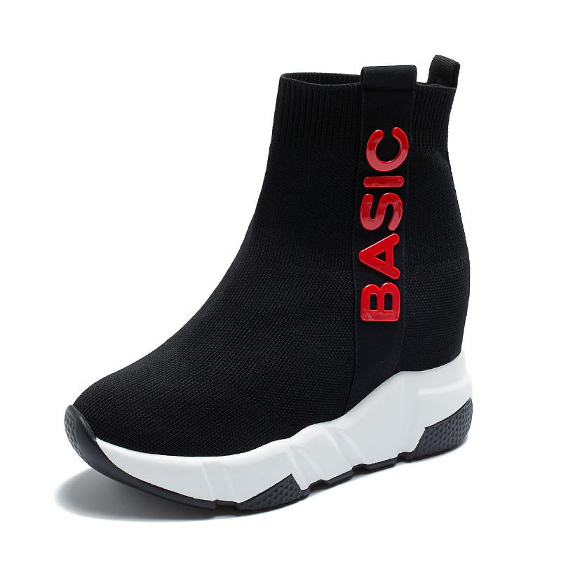 2019 new height inside casual women 39 s shoes elastic socks shoes web celebrity thick bottom high top shoes breathable fashion in Ankle Boots from Shoes