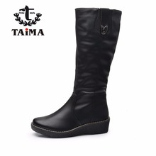 TAIMA Brand New Arrival Winter Women Boots Fashion Warm Zip Wedges Snow Boots Ladies Style Mid-Calf Boots Winter Women Shoes