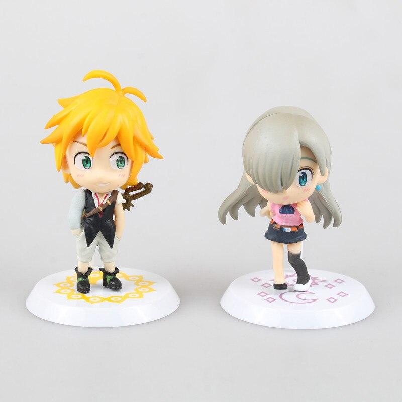 все цены на 2pcs/set 6.5cm Nanatsu No Taizai Dragon's Sin of Wrath Meliodas Elizabeth Liones PVC Action Figure Model Toy онлайн