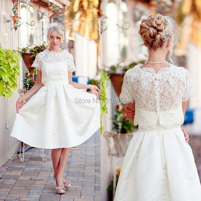 Free Lace Bolero Wedding Dresses 2017 A Line Tea Length Reception Stain Bridal Dress Plus Size