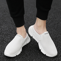 SHANTA 2019 Summer Men Half Slippers Breathable Linen Fashion Mens Shoes Casual Hombre Sandals Lazy Cotton Fabric Slippers