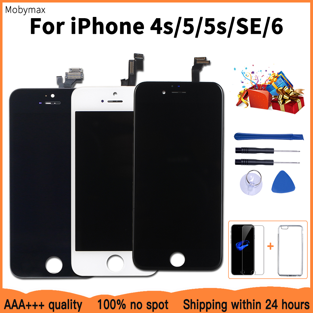 AAA+++ Quality LCD Display For iPhone 6 Touch Screen Replacement For iPhone 5 5c 5s SE 4s No Dead Pixel+Tempered Glass+Tools+TPU image