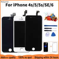AAA + + + qualité écran LCD pour iPhone 6 remplacement de l'écran tactile pour iPhone 5 5c 5s SE 4s pas de Pixel mort + verre trempé + outils + TPU