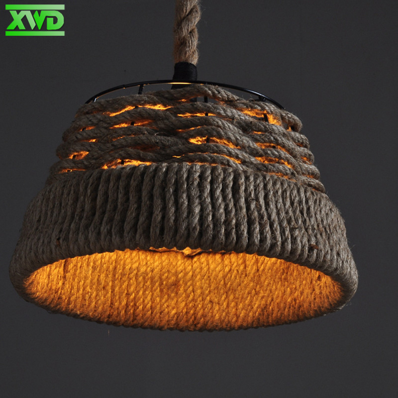 Vintage Wicker Hemp Rope Iron Pendant Lamp Parlor/Coffee House/Bookshop/Bar/Dining Room Indoor Lighting E27 Lamp Holder 110-240V vintage iron cage glass indoor pendant lights e27 lamp holder 110 240v bar coffee house dining room foyer club lighting