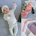 2017 recém-nascidos roupas de inverno quente Do Bebê Da Menina Do Menino e do bebê camisa do bebê camisola de malha Leggings barriga de enfermagem de Manga Comprida + calças