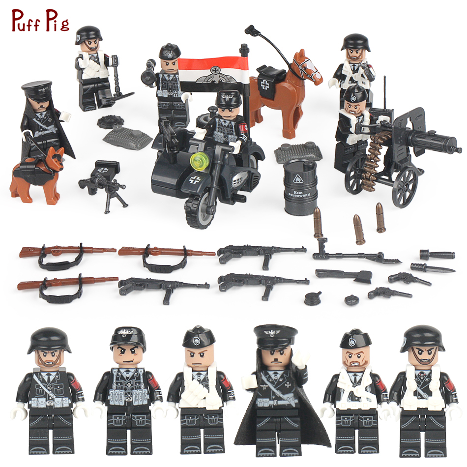 все цены на Classic WW2 German Army Soldiers Building Blocks Military Figures Weapon Gun Accessories Compatible Legoing City Bricks Kids Toy онлайн