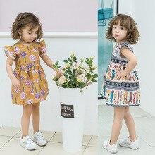 Cute Girl Summer Dresses Children Fashion Printing Princess Dress Clothes Baby Cartoon Casual Wear