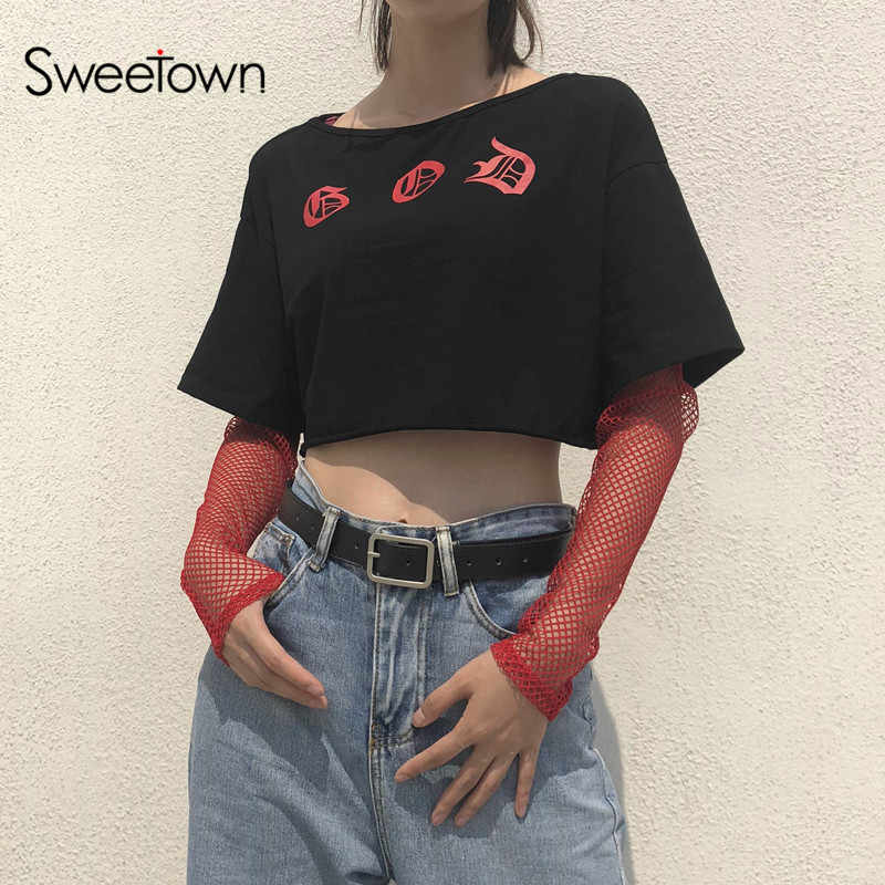 ab30b26aaea Detail Feedback Questions about Sweetown Plus Size Crop Top Mesh Patchwork  Long Sleeve T Shirt Korean Style Letter Tee Shirt Femme Summer Tops For  Women ...