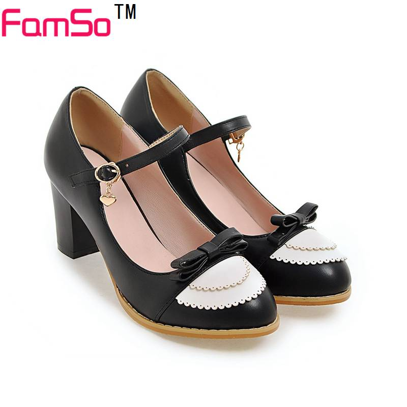 ФОТО FAMSO black pink Blue High Heels Shoes 2017 new Buckle Thick Heels Pumps Shoes Summer Women's Dress Office Pumps  3050