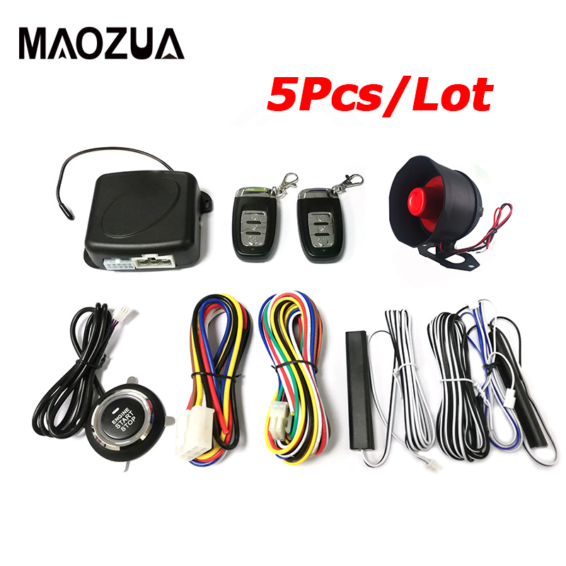 5 pièces système d'alarme de voiture + un bouton de démarrage arrêt moteur bouton poussoir Starline SUV système d'entrée sans clé + 2 télécommande cambrioleur