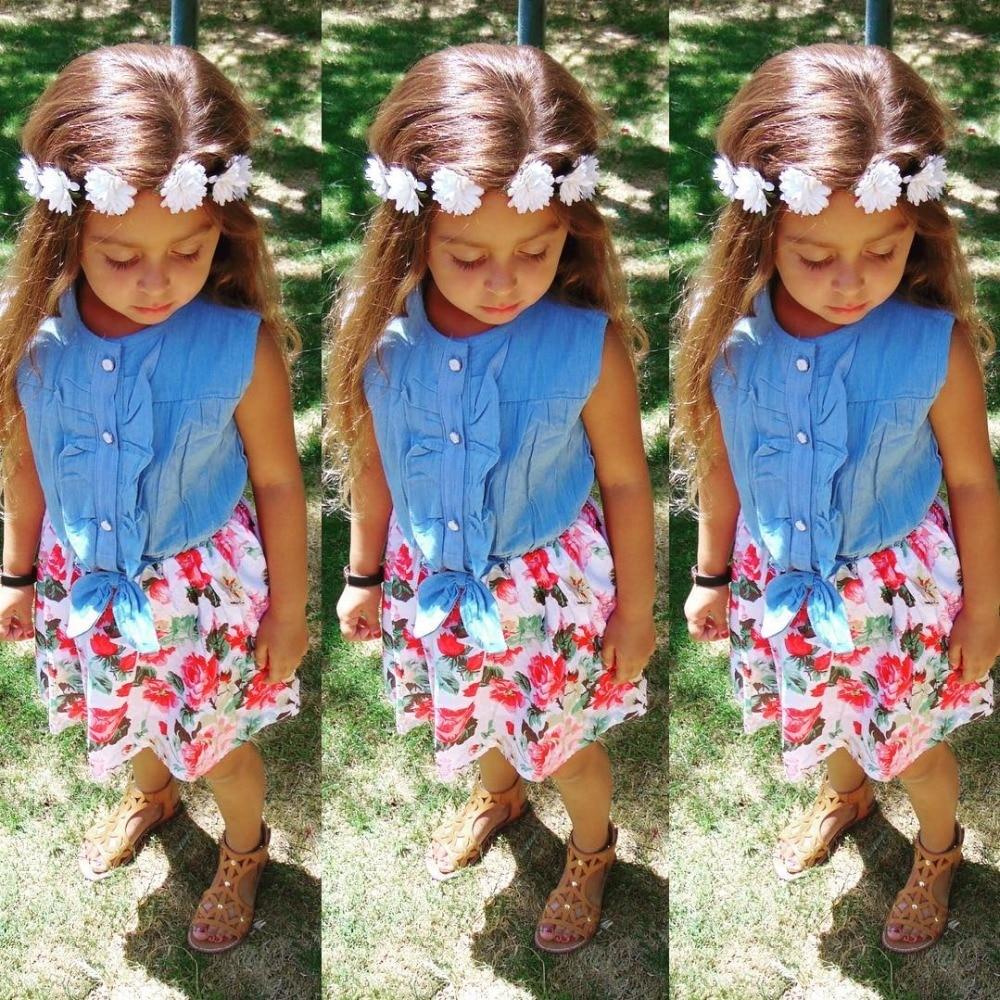 Girls Dresses Lovely Hot Kid Girls Jean Denim Bow Flower Ruffled Dress Sundress Clothing Costume 3