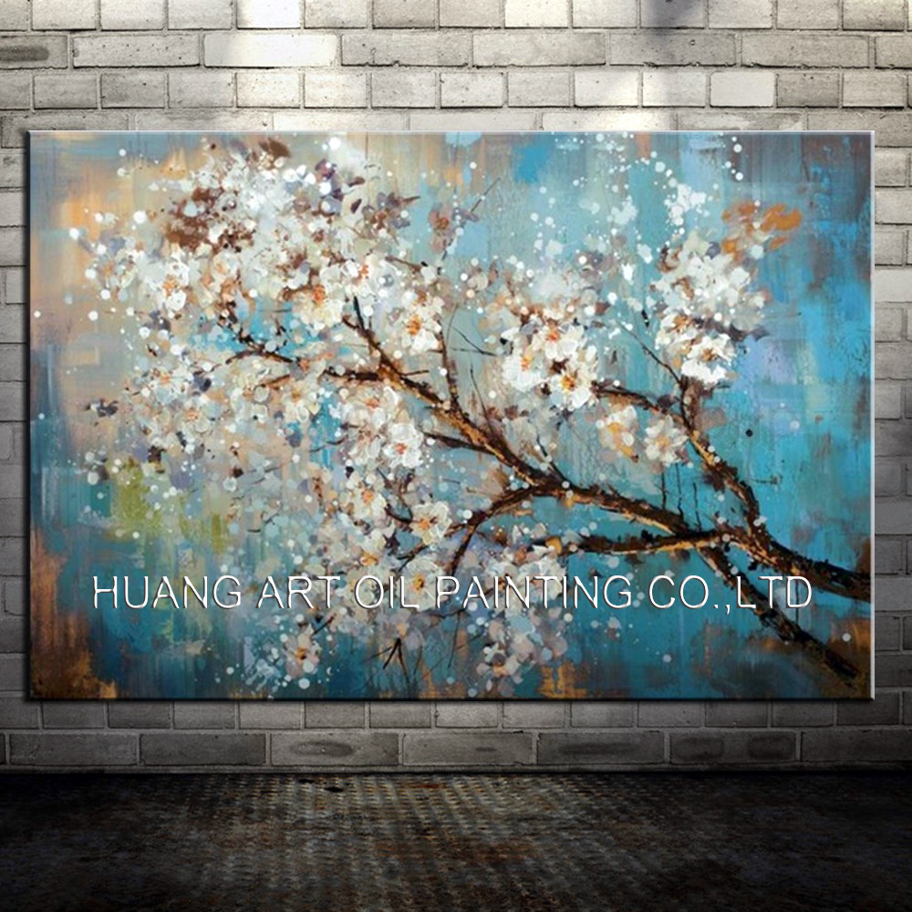 100 Handpainted White Flowers Tree Abstract Morden Blue Oil