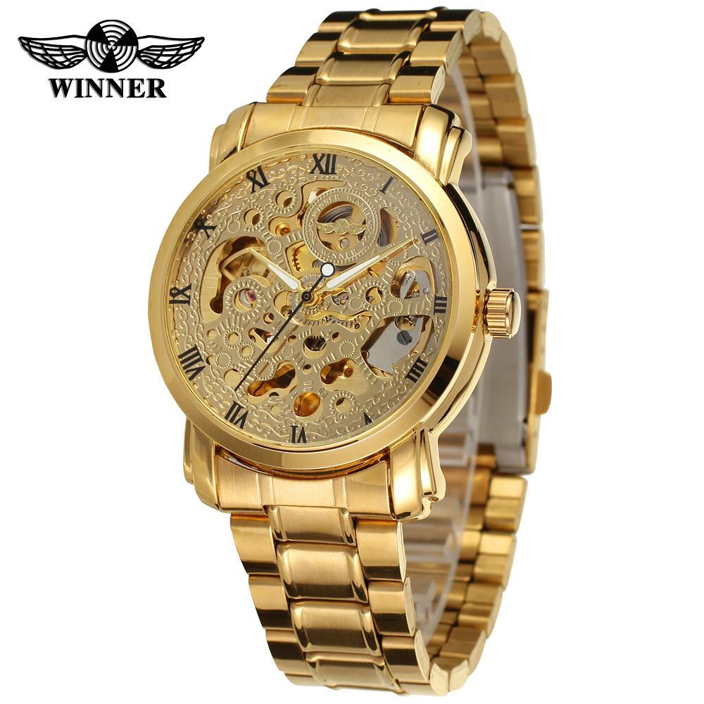 WINNER montre pour hommes de luxe automatique squelette Bracelet robe montre-Bracelet choc vente couleur or WRG8047M4