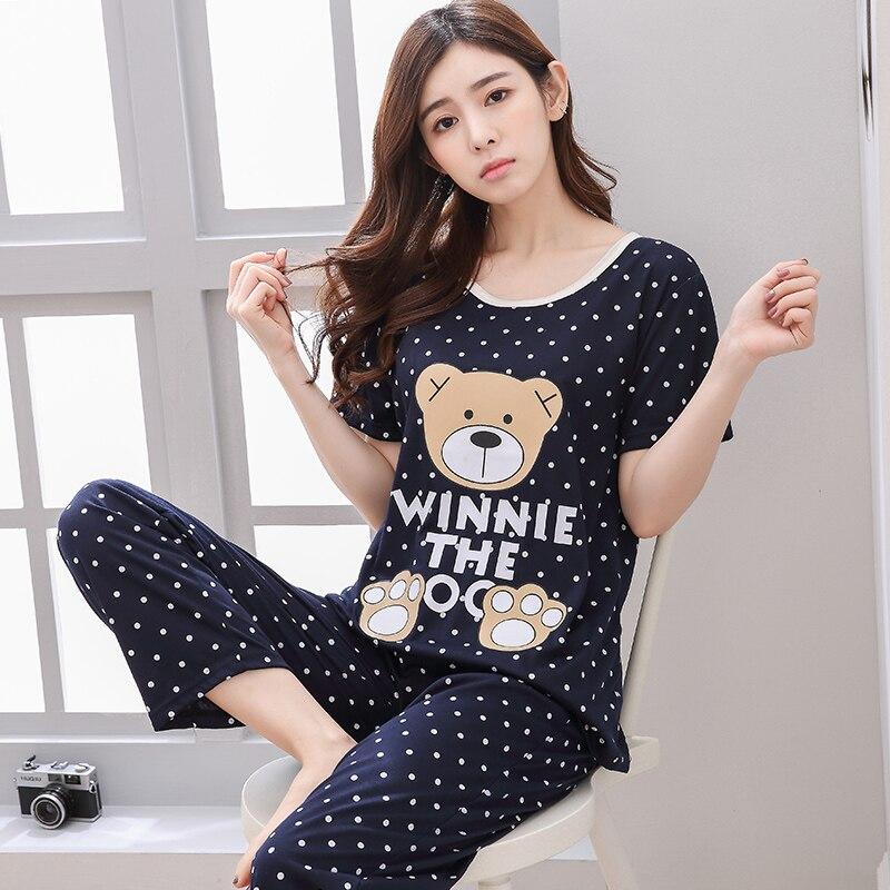 spring autumn Women Pyjamas Thin cotton Long Sleeve Pajamas Set Student Tracksuit Tops Female Pyjamas Sets Night Suit Sleepwear