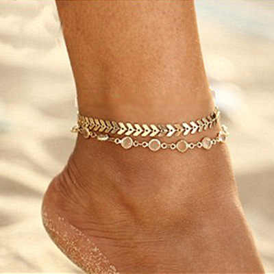 S122 Gold สี moda praia ข้อเท้าสร้อยข้อมือขาแฟชั่นฤดูร้อน 2019 เครื่องประดับ Tobilleras De Plata Para mujer