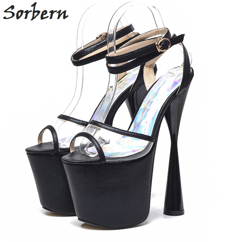 Sorbern Strange Style Women Sandals Slingbacks Ankle Strap Platform Shoes Women Sandals Open Toe Summer Sandalias 19Cm Heels 2018 kid suede brand summer shoes peep toe slingbacks women sandals runway fur strange style med heels casual vacation shoes l30