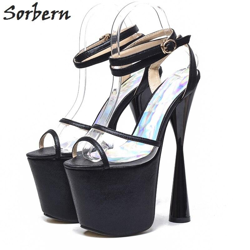 Sandales Femmes argent Plate Chaussures D'été Noir Cheville Sandalias Sangle 19 Sorbern À Talons or forme Étrange Ouvert Cm Escarpins Style Bout qgRnztzE