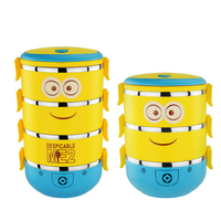 304 Stainless Steel Cartoon Minions Thermos Bento Lunch Box For Kids Food Insulation Storage Food Container