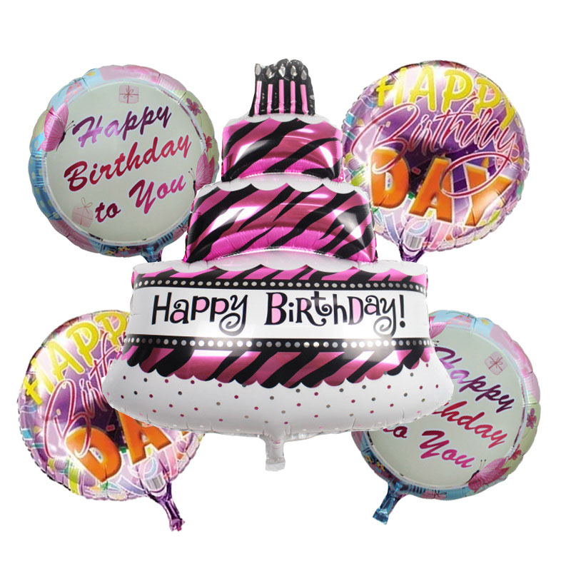 5pcs/lot Birthday cake foil balloons helium balloon globos inflatable happy birthday balloons air balls children party supplies