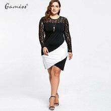 Lace Insert Dresses Asymmetric Long Sleeve Knee Length Bodycon Dress Vestidos Plus Size XL-5XL