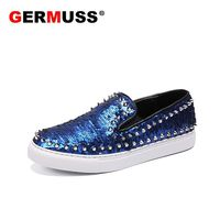 Handmade Blue Sequined Cloth Rivets Men Casual Shoes Luxury Brand 2018 Mens Loafers Moccasins Breathable Slip On Formal Shoes