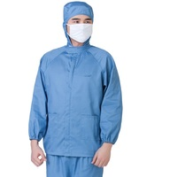 (10 sets)Long sleeve waterproof tooling female blue overalls suit male food packaging workers uniforms operators work clothes