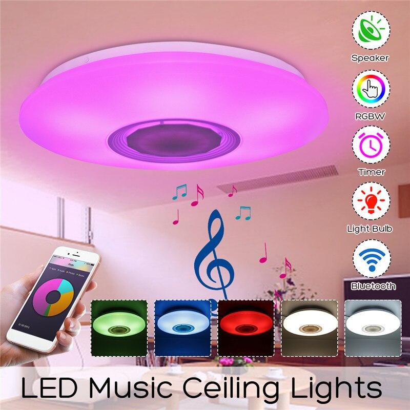 48 W 108 LEDs Dimmable bluetooth haut-parleur lampe de musique plafonnier lumière Multi couleur changeante lampe intérieure chambre