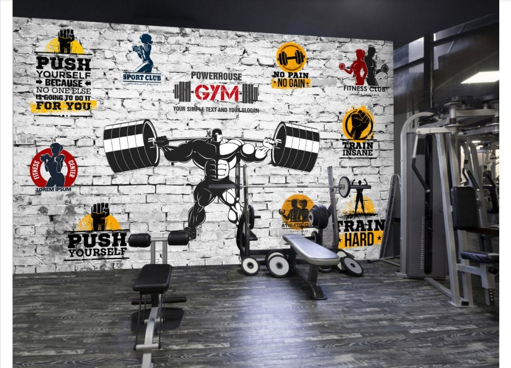 Us 1192 41 Offcustom Photo Wallpaper 3d Gym Mural Wall Paper Modern Minimalist Personality Motivational Gym Yoga Brick Wall Background Wall In