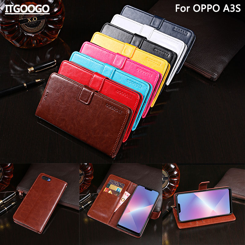 OPPO A3S Case Cover Luxury Leather Flip Case For OPPO A5 Protective Phone Case Back Cover Wallet Case