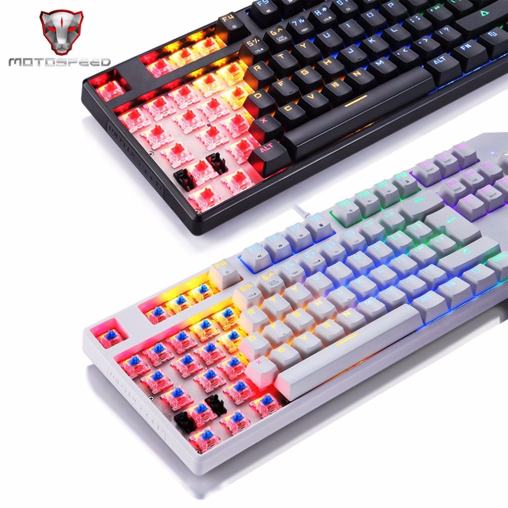 Motospeed CK96 Wired Full 104 Key Mechanical Keyboard 9 LED Light Color Gaming Keyboard with LED Backlight