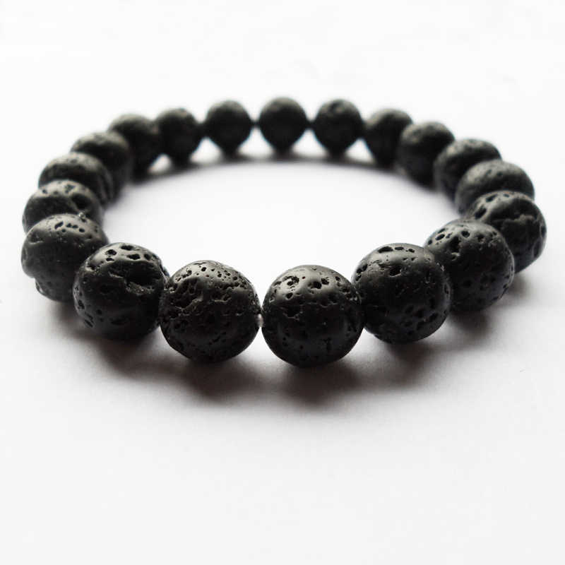 Good quality DIY 10MM (19PCS) Black natural Volcanic stone beads Bracelet,Yoga Bracelet gift