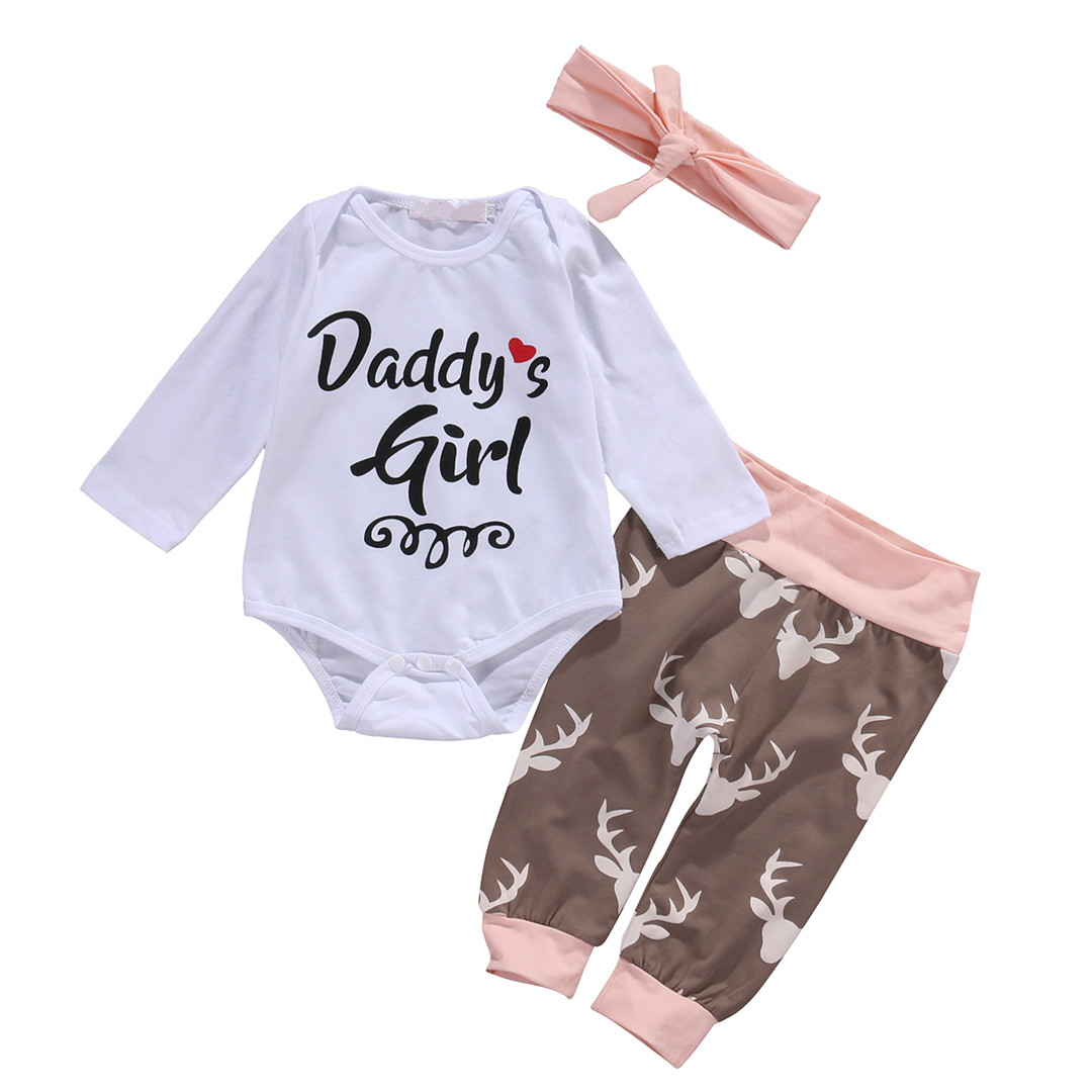 Lovely Christmas Newborn Infant Early Baby Girl Clothes Set Tops Pants Bodysuit Outfits Headband 3pcs Cute Baby Deer Clothing