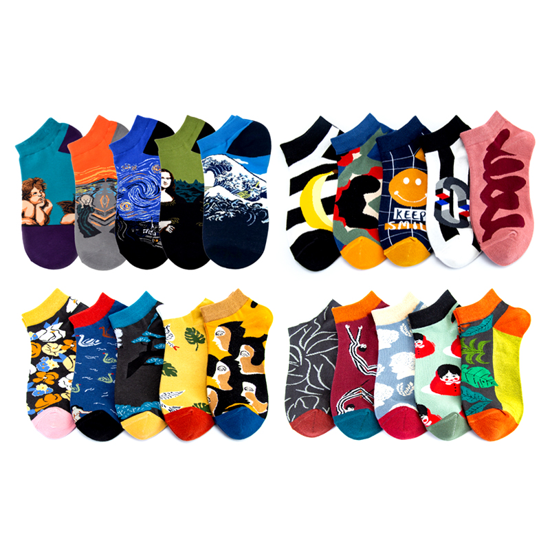 Art Funny Starry Night Happy Socks Mona Lisa Invisible Summer Short Low Cut No Show Women Men Socks Boat Short Socks 5 Pairs/lot