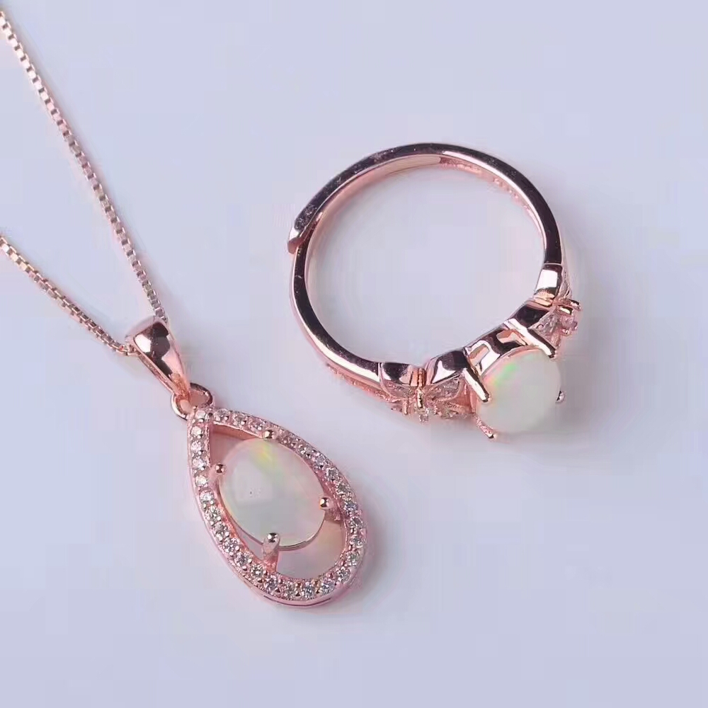 x10mm Opal Pendant Jewelry 925 Silver Fire Opal Necklace/Ring For Women Natural Opal Necklace Jewelry sets vintage faux opal floral necklace jewelry for women