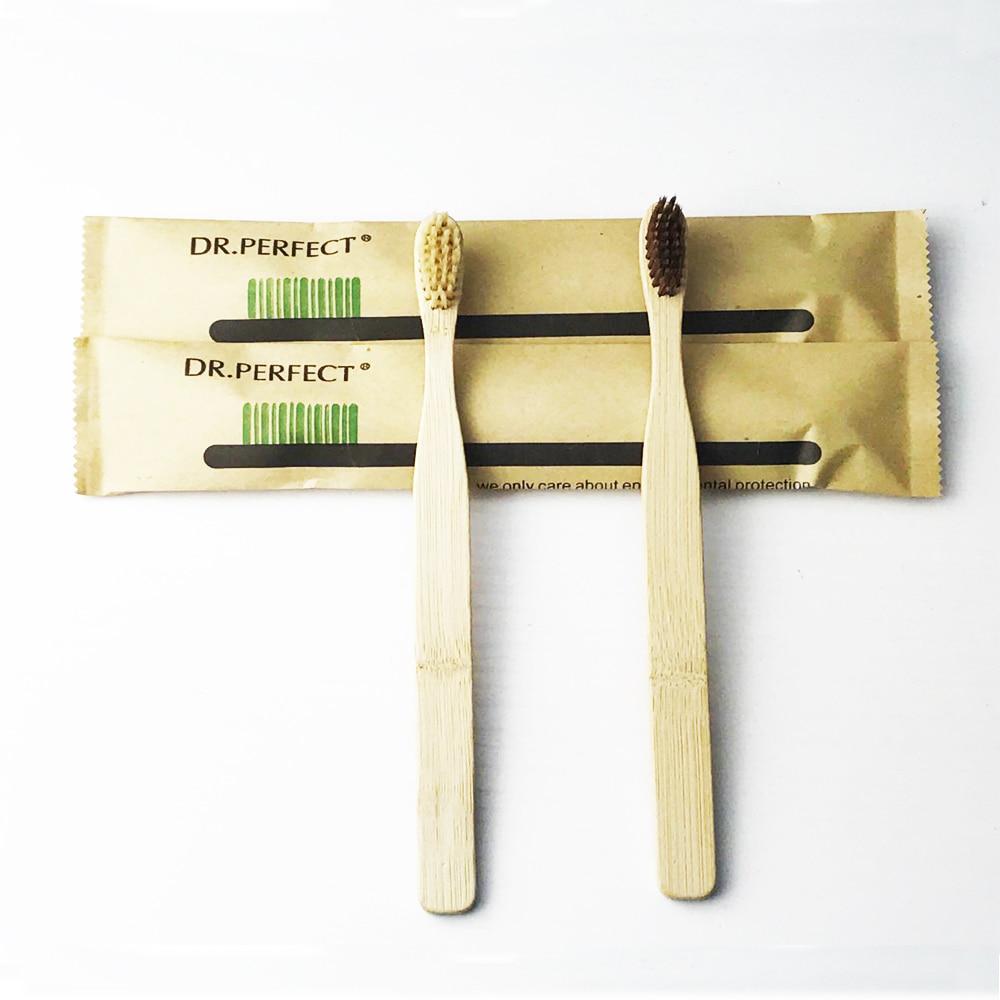 2 Pieces / lot mahkota lebar menangani, Lingkungan kayu sikat gigi, Kebaruan bambu sikat gigi, Lembut - bulu, Capitellum serat bambu
