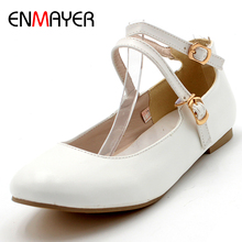 ENMAYER Spring Autumn Women Fashion Casual Concise Flats Round Toe Slip-On Square Heel Large Size 34-47 Black White Pink Red