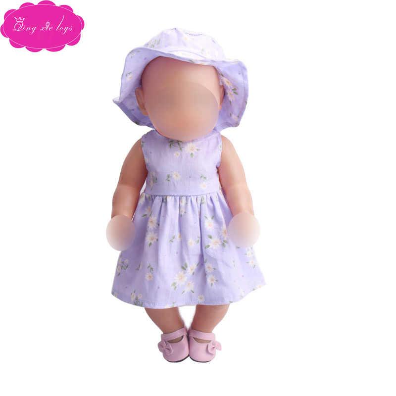 43 Cm Babypoppen Jurk Pasgeboren Zomer Print Jurk + Zonnehoed Baby Speelgoed Rok Fit Amerikaanse 18 Inch Meisjes pop F216-f233