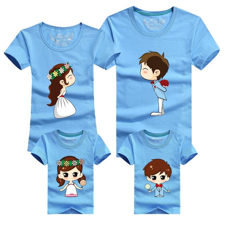 695bc9f25b09f 1 Piece Family Matching Outfits Mother Father Son Daughter Cartoon Bride  Bridegroom Print Women Men Children Boy Girl T shirt