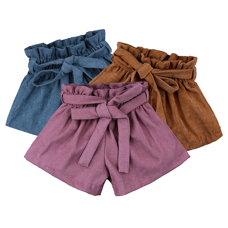 Baby Girls Shorts Solid Bow Ruffle Culottes Fashion Autumn Winter Shorts Corduroy PP Shorts For Children 1-5Y Toddler Clothing