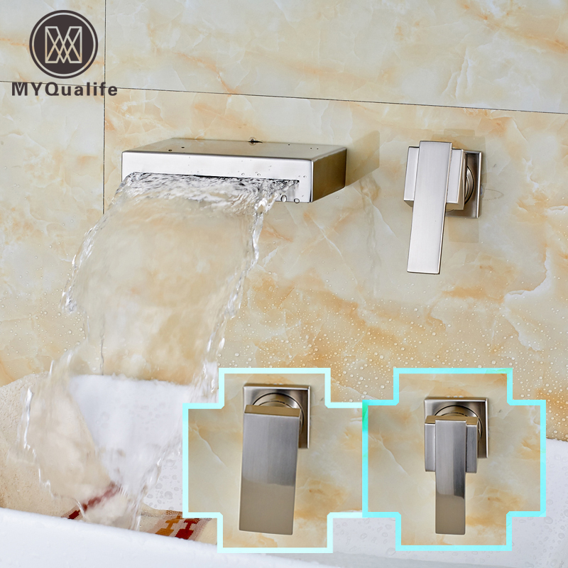 Brushed Nickel Waterfall Wall Mount Single Handle Bathroom Basin Faucet New Lavatory Sink Mixer Taps new arrive dual square handles waterfall spout bathroom sink basin faucet brushed nickel deck mount