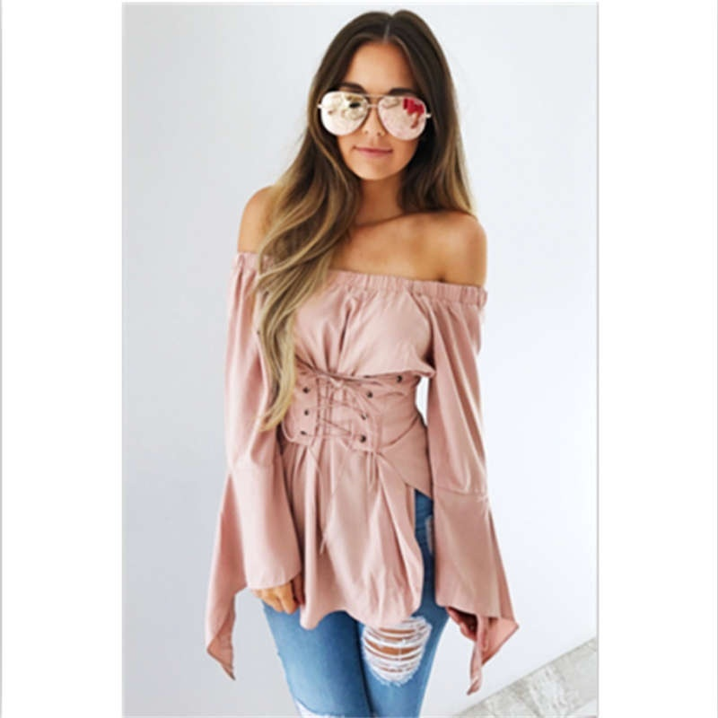 Women Blouses Off Shoulder Pink Tops new Fashion Vintage Long Sleeve Shirt Tied Festivals Classics Top Sexy Lace Up Blouse