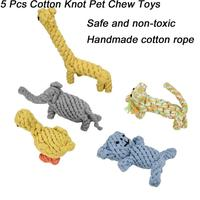 Transer Dog Toy Dog Chews 5 Pcs Dog Rope Chew Toy Nuts Knots Ball Flyer Dog Toy Cotton Rope Clean Teeth 3.19