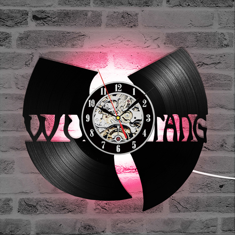 Vinyl Record Wall Clock Modern Design WU TANG CLAN HIP-HOP Band Hot CD Record LED Clock 7 Colors Change Wall Watch Gift For Fans