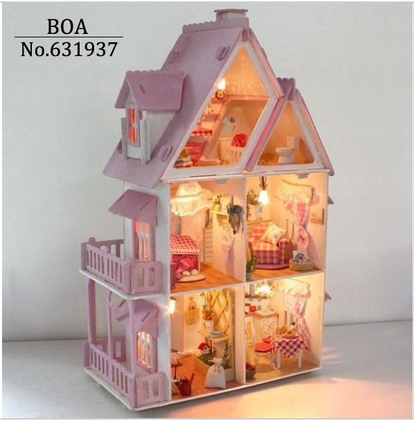 Hot Sunshine Alice Pink DIY Wooden Miniatura Doll House Furniture Handmade  3D Miniature Dollhouse Toys Gits English Instructions In Doll Houses From  Toys ...