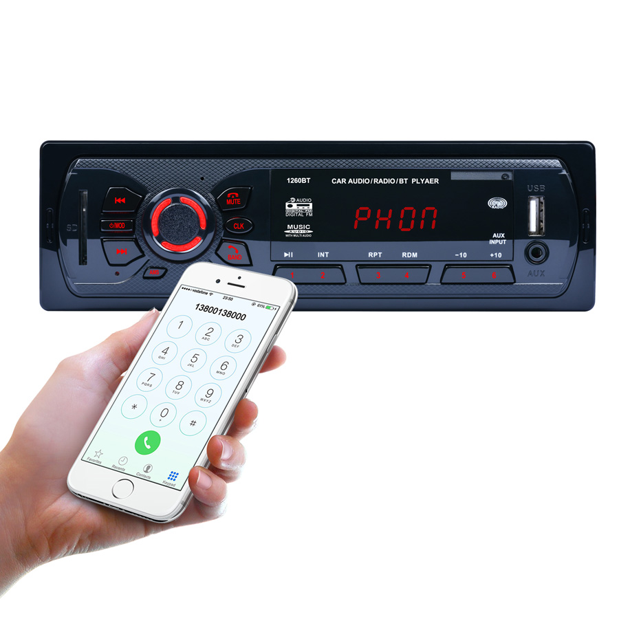 REAKOSOUND Hands-free Calls 12V Bluetooth Car Stereo FM Radio MP3 Audio Player Aux Input Receiver SD USB MP3 Radio 1 DIN In-Dash rs 1010bt car bluetooth hands free stereo mp3 player