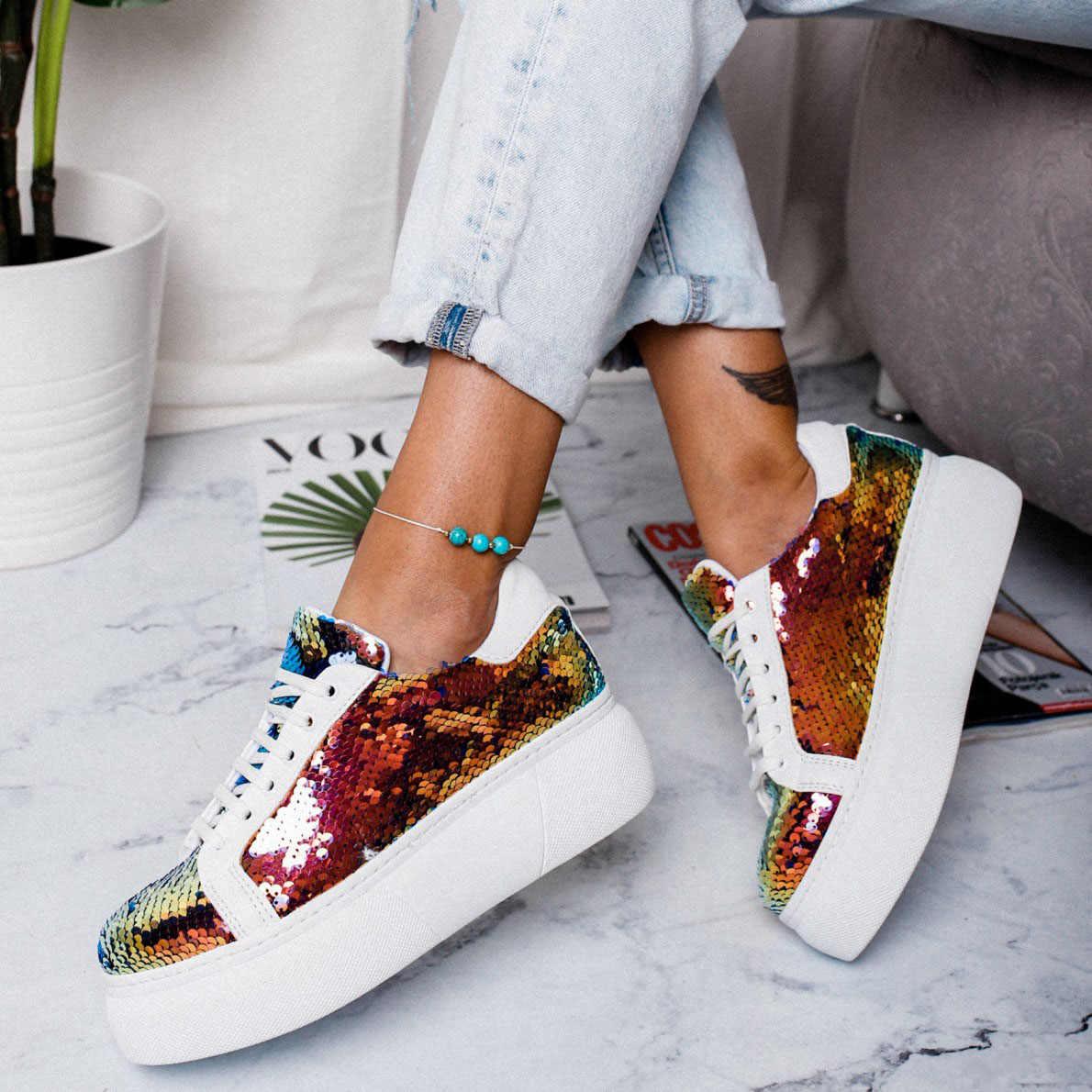 Printemps femmes baskets plate-forme paillettes brillant Bling chaussures décontracté femme dame ballerines baskets Espadrilles 2019 nouveau