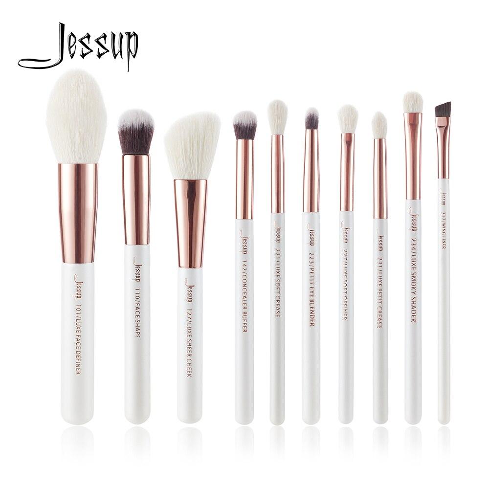 Jessup 10 pçs pérola branco/rosa de ouro pincéis maquiagem profissional conjunto compõem ferramentas escova fundação pó definer shader forro